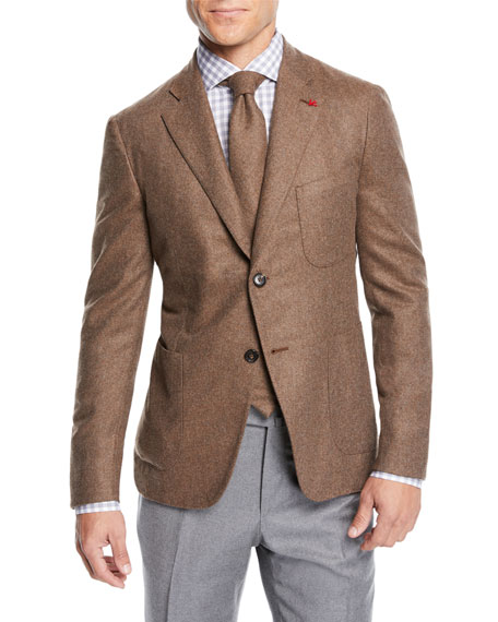 Isaia Men's Heathered Cashmere Two-Button Jacket