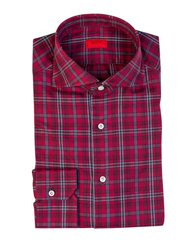 Men's Plaid Cotton Sport Shirt