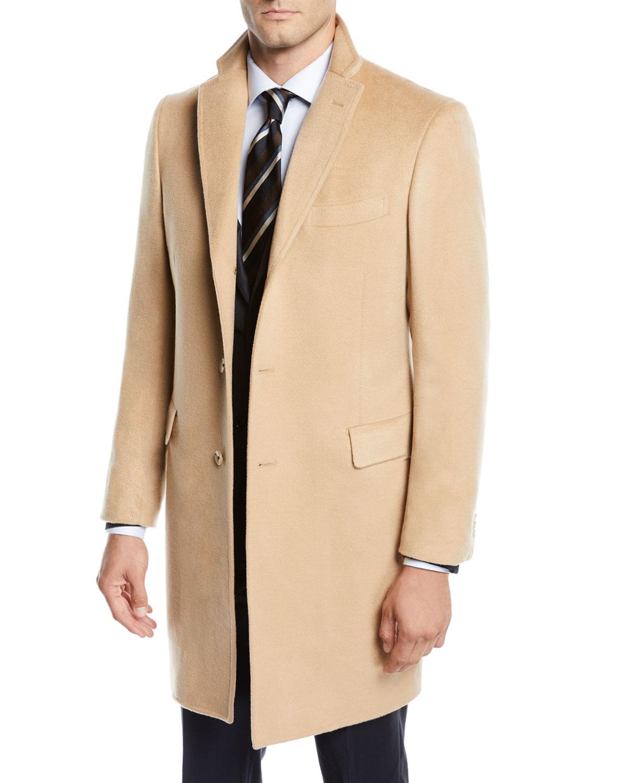 Men's Cashmere Car Coat, Camel Beige