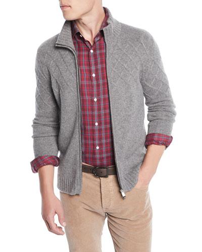 Men's Argyle-Jacquard Zip-Front Cashmere Jacket
