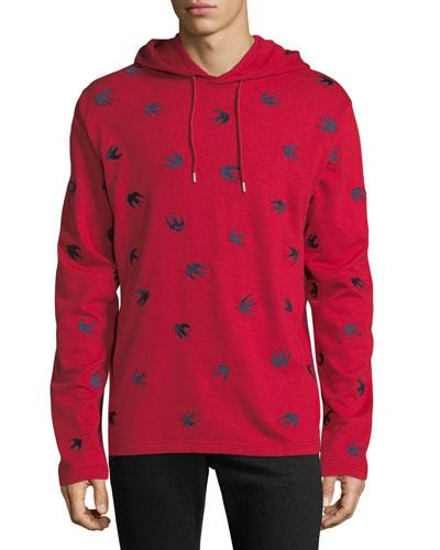 Men's Swallow-Print Hoodie Sweatshirt