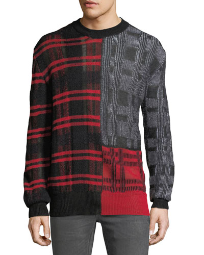 Men's Patchwork Check Crewneck Sweater