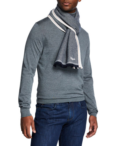 Men's Cashmere Scarf with Racing Stripes