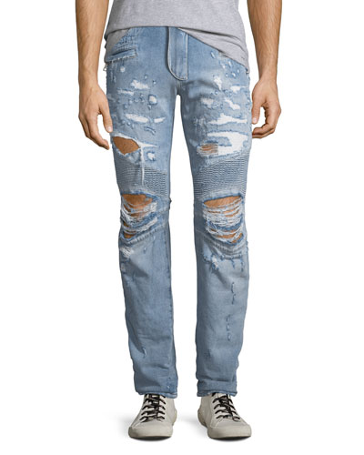 Quick Look. Balmain · Men s Distressed Straight-Leg Biker Jeans. Available  in Blue 9b2f629366491