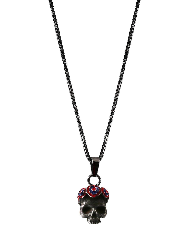 Men's Skull Pendant Necklace, Dark Gray