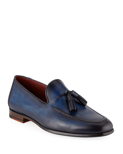 Men's Leather Slip-On Loafers with Tassels