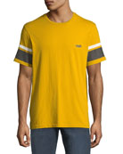 Ovadia & Sons Men's Striped-Sleeve Graphic T-Shirt