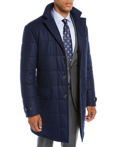 Men's Long Water-Resistant Quilted Wool Button-Front Coat
