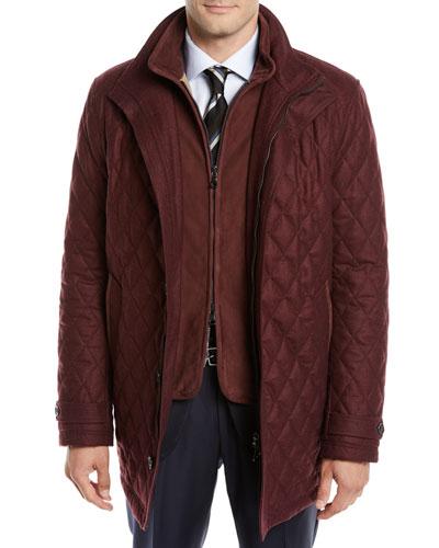 Men's Water-Resistant Diamond-Quilted Wool Zip-Front Coat