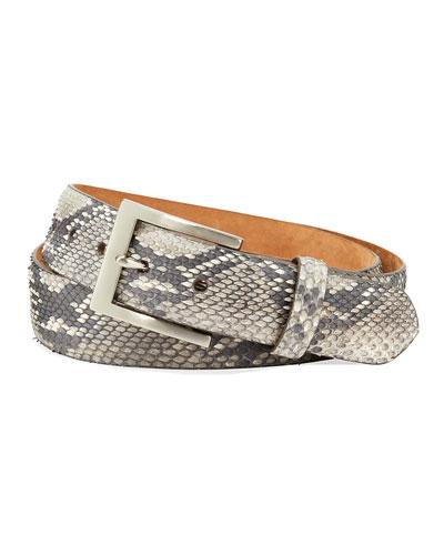 Men's Matte Python Snakeskin Belt