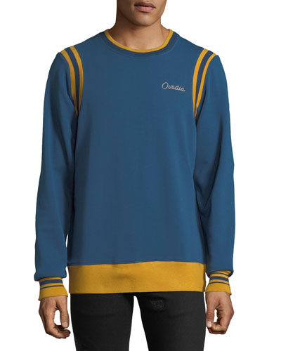 Men's Striped-Trim Varsity Sweatshirt