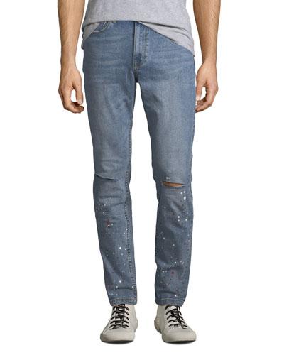 Men's Slim-Leg Paint-Splattered Jeans