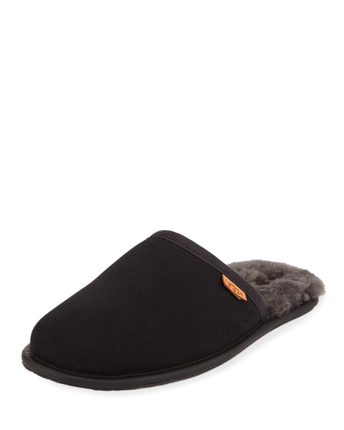 Men's Scuff Shearling Mule Slipper, Black
