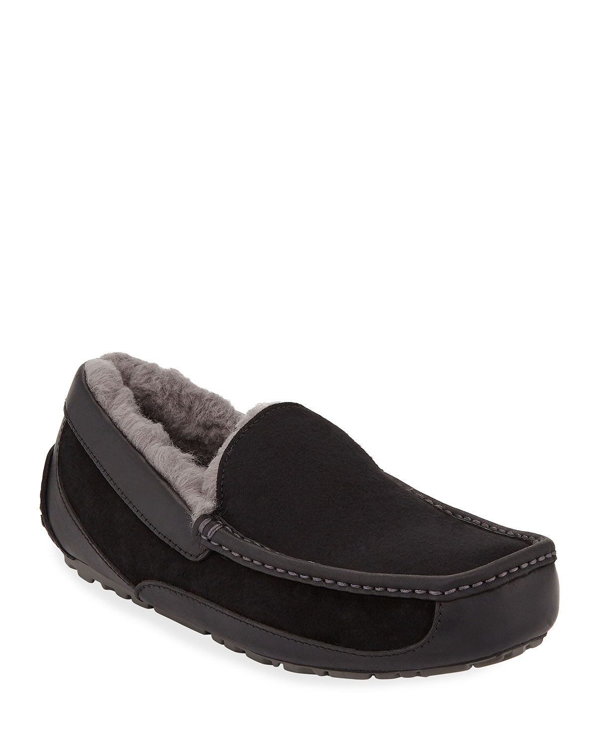 Men's Ascot Leather-Trim Slippers