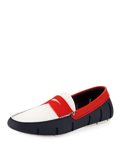 Men's Rubber Penny Loafer Water Shoes, White