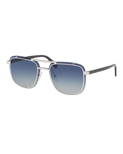 Men's Double-Bridge Square Gradient Sunglasses