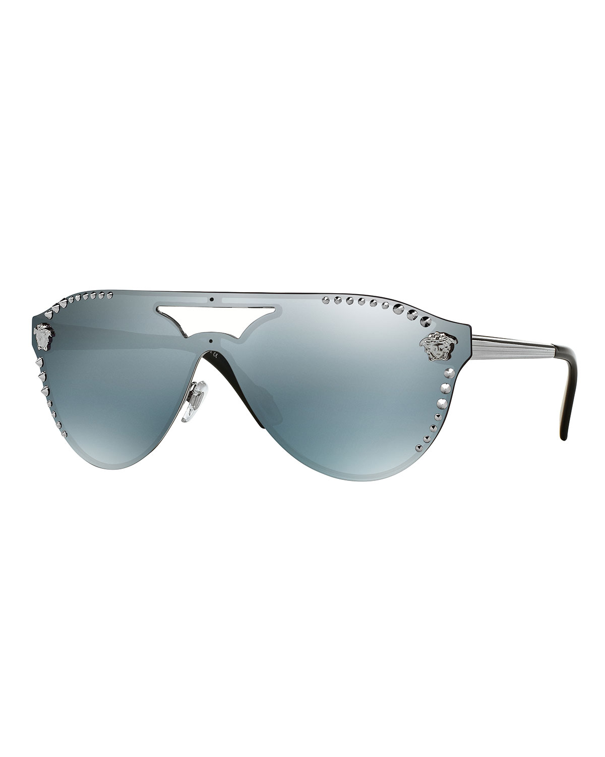 VERSACE MEN'S MIRRORED METAL-STUDDED SHIELD SUNGLASSES