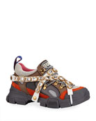 Gucci Men's Leather and Canvas Sneakers with Removable