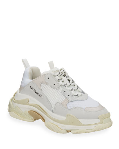 Men's Triple S Mesh & Leather Sneakers, White