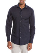 Ermenegildo Zegna Men's Tonal-Stripe Button-Down Shirt
