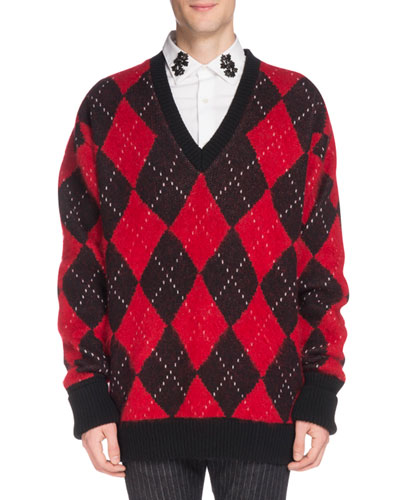 Men's Oversized Wool Argyle Sweater