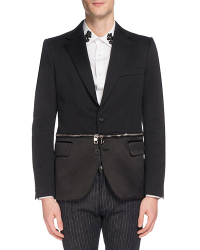 Men's Two-Button Jacket with Zip-Off Hem