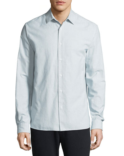 Men's Micro-Stripe Long-Sleeve Button-Front Cotton Shirt