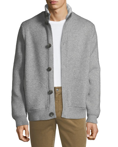 Men's Cozy-Knit Bomber Jacket