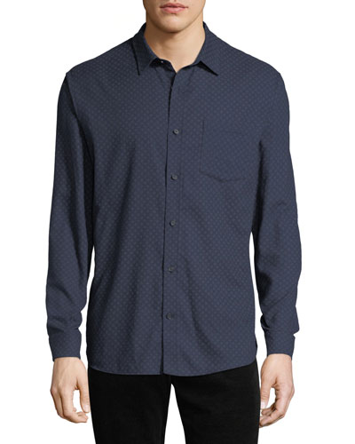 Men's Square-Print Button-Down Shirt
