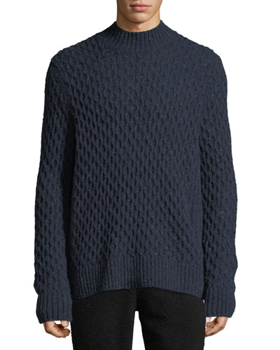 Men's Mock-Neck Honeycomb Knit Wool-Blend Sweater