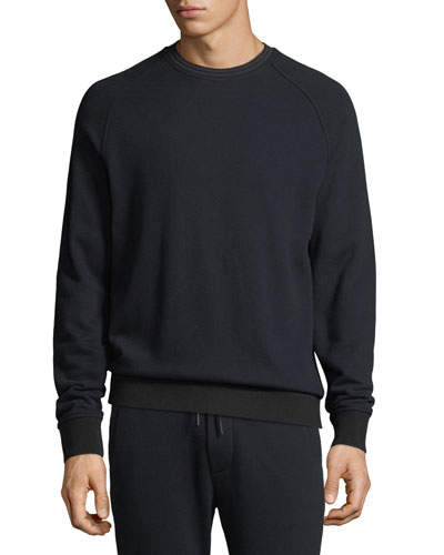 Men's Striped-Rib Crewneck Raglan-Sleeve Sweatshirt