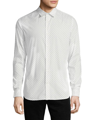 Men's Button-Front Long-Sleeve Sphere-Print Cotton Shirt