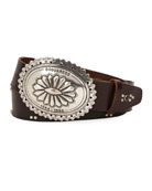 Dsquared2 Men's Studded Leather Belt with Western Buckle