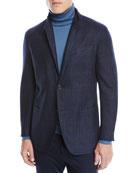 Ermenegildo Zegna Men's Wool-Silk Check Two-Button Blazer Jacket