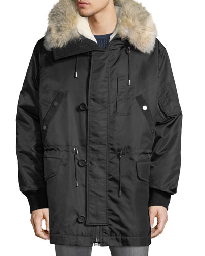 Men's Anorak Coat with Fur & Corduroy Trim