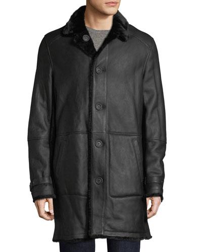 Men's Lamb Leather Shearling Fur-Lined Coat