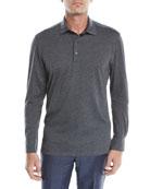 Ermenegildo Zegna Men's Cotton-Blend Long-Sleeve Polo Shirt