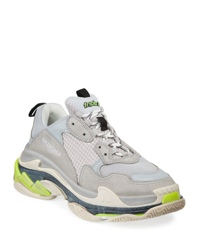 Men's Triple S Mesh & Leather Sneakers, Gray