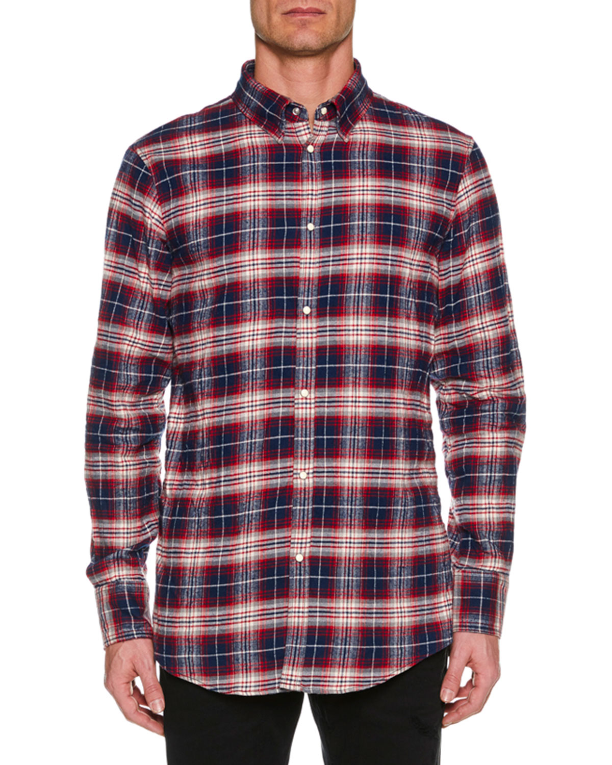 Men's Check Cotton Button-Down Shirt