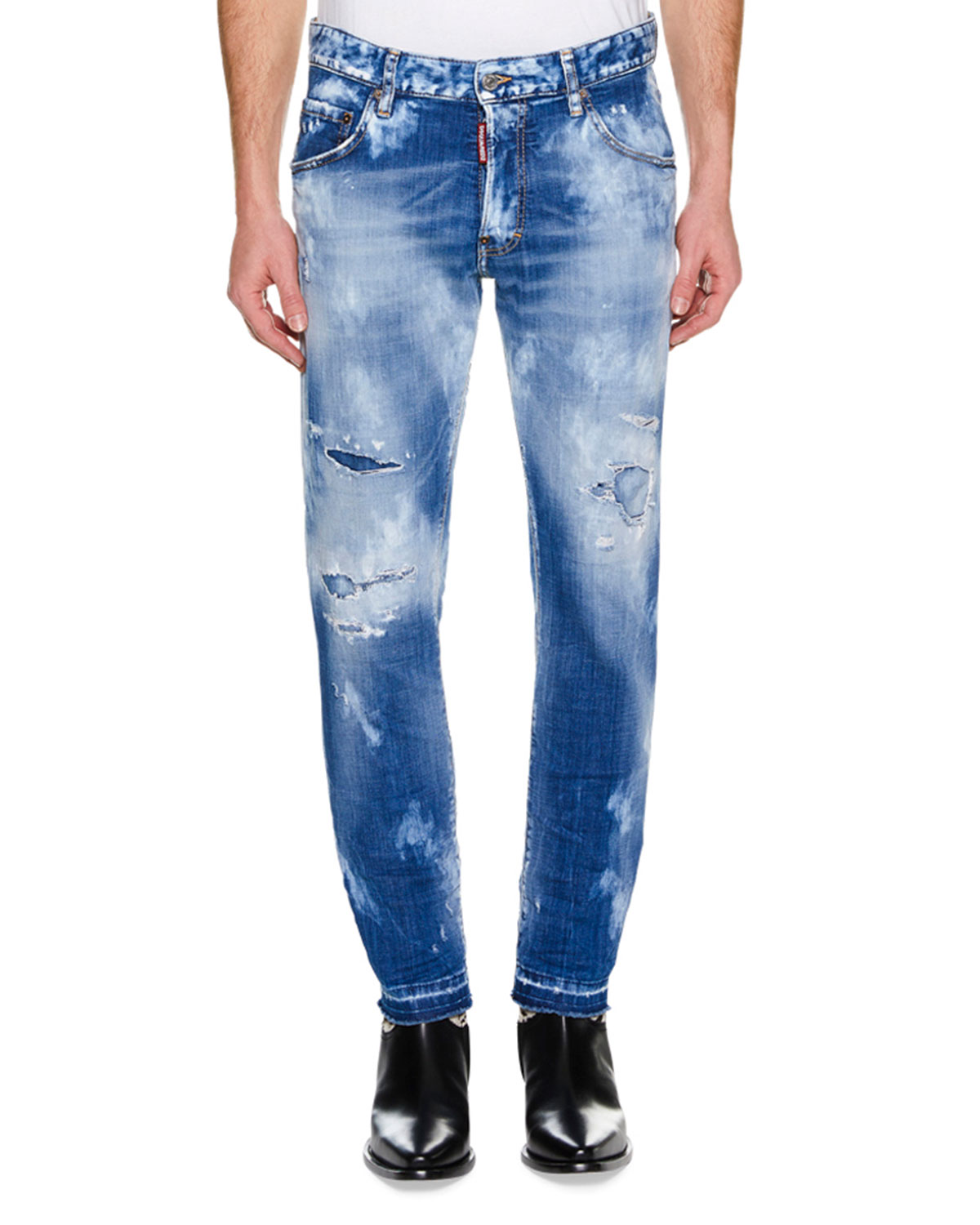Men's Skater Distressed Super Bleached Straight-Leg Jeans with Holes