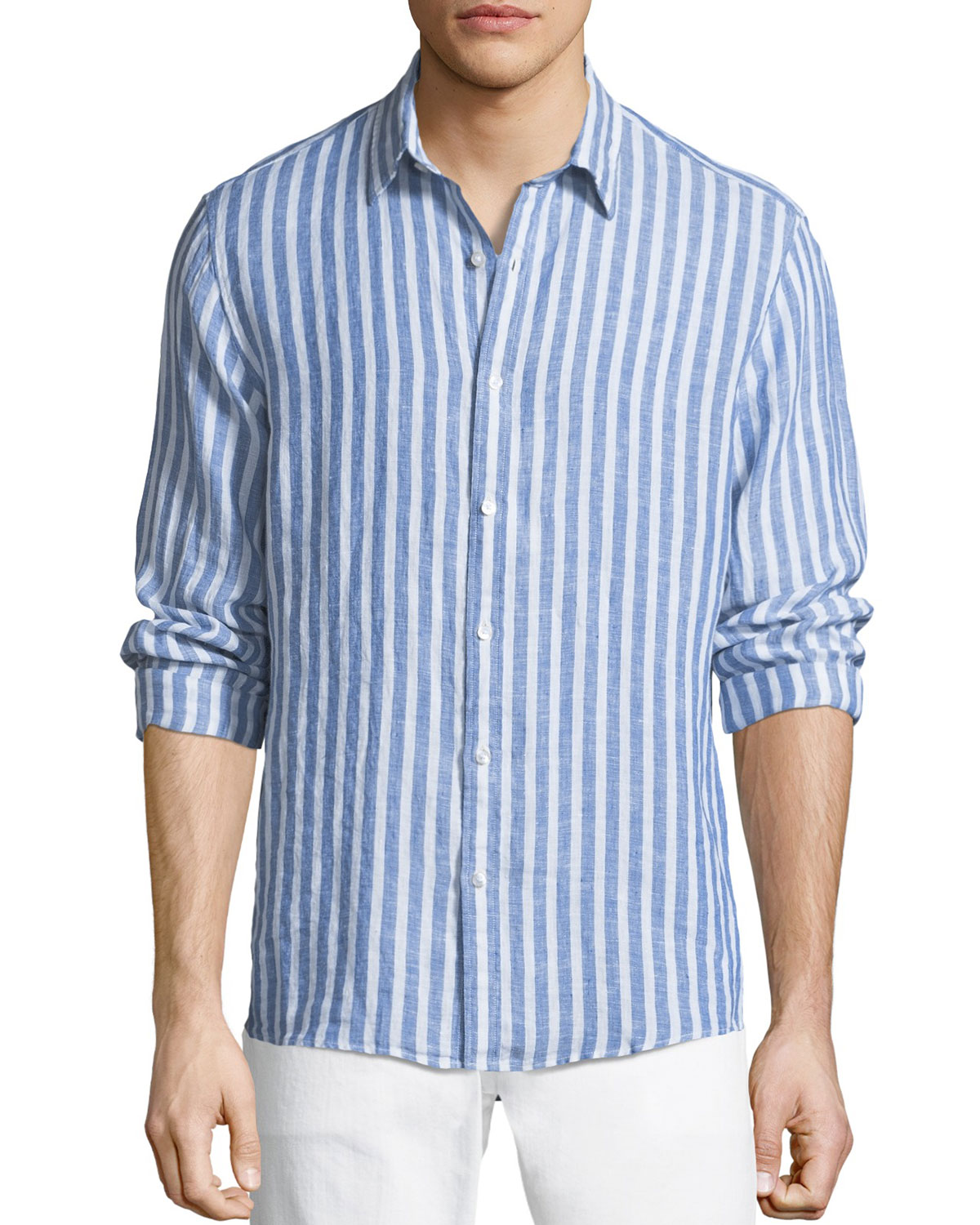 Men's Slim Fit Striped Linen Button-Down Shirt