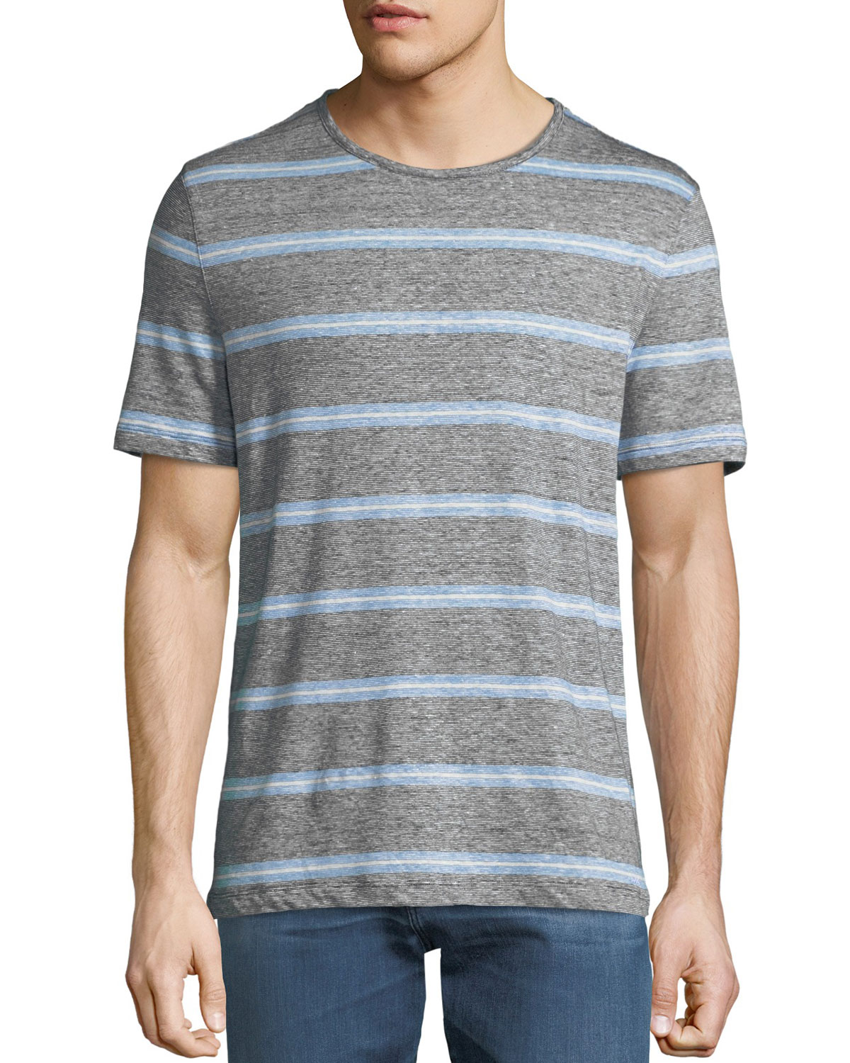 Men's Striped Linen-Blend T-Shirt