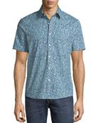 Michael Kors Men's Trim Fit Short-Sleeve Button-Front Shirt