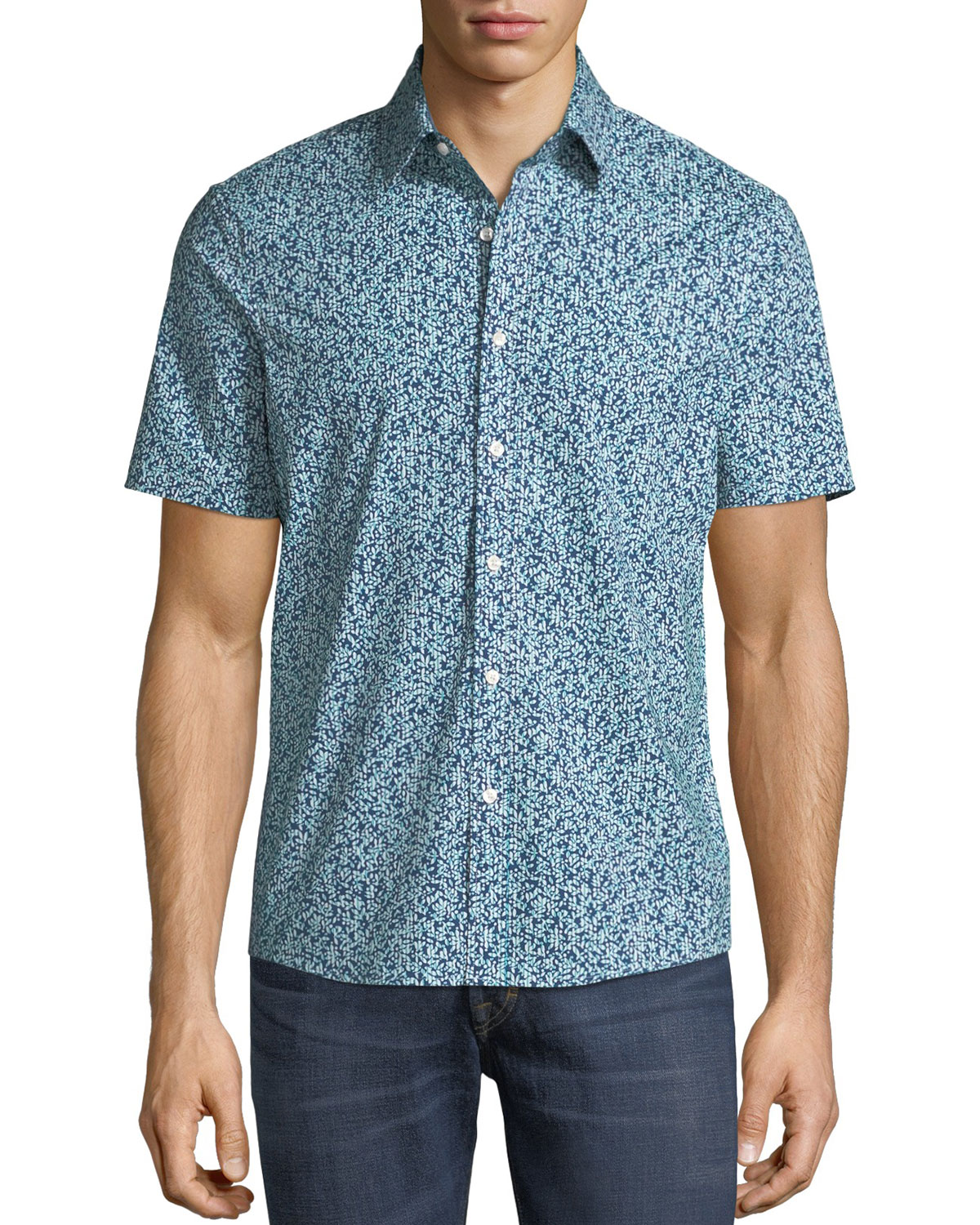 Men's Trim Fit Short-Sleeve Button-Front Shirt