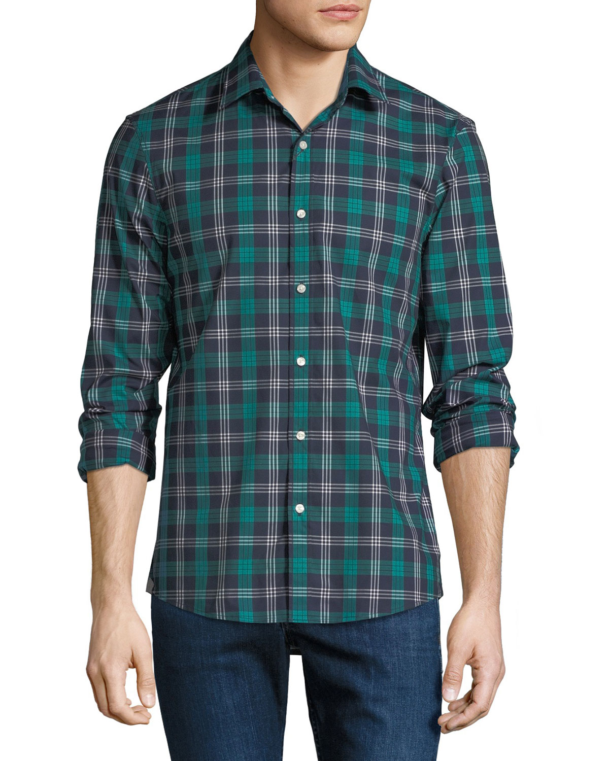 Men's Plaid Stretch Cotton Button-Down Shirt