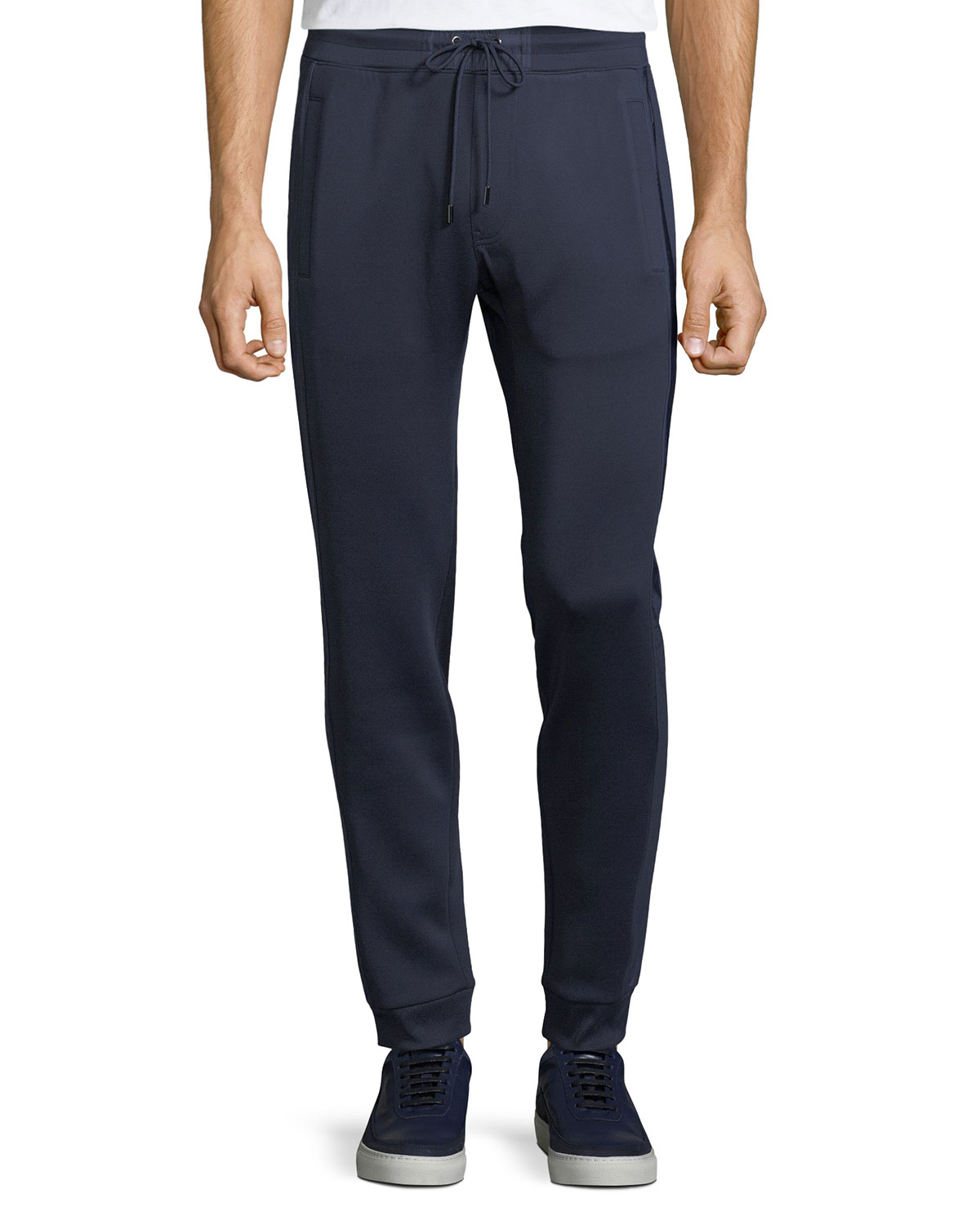 Men's Woven-Trim Sporty Scuba Jogger Pants