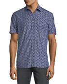 Etro Men's Dragon-Print Poplin Button-Down Shirt