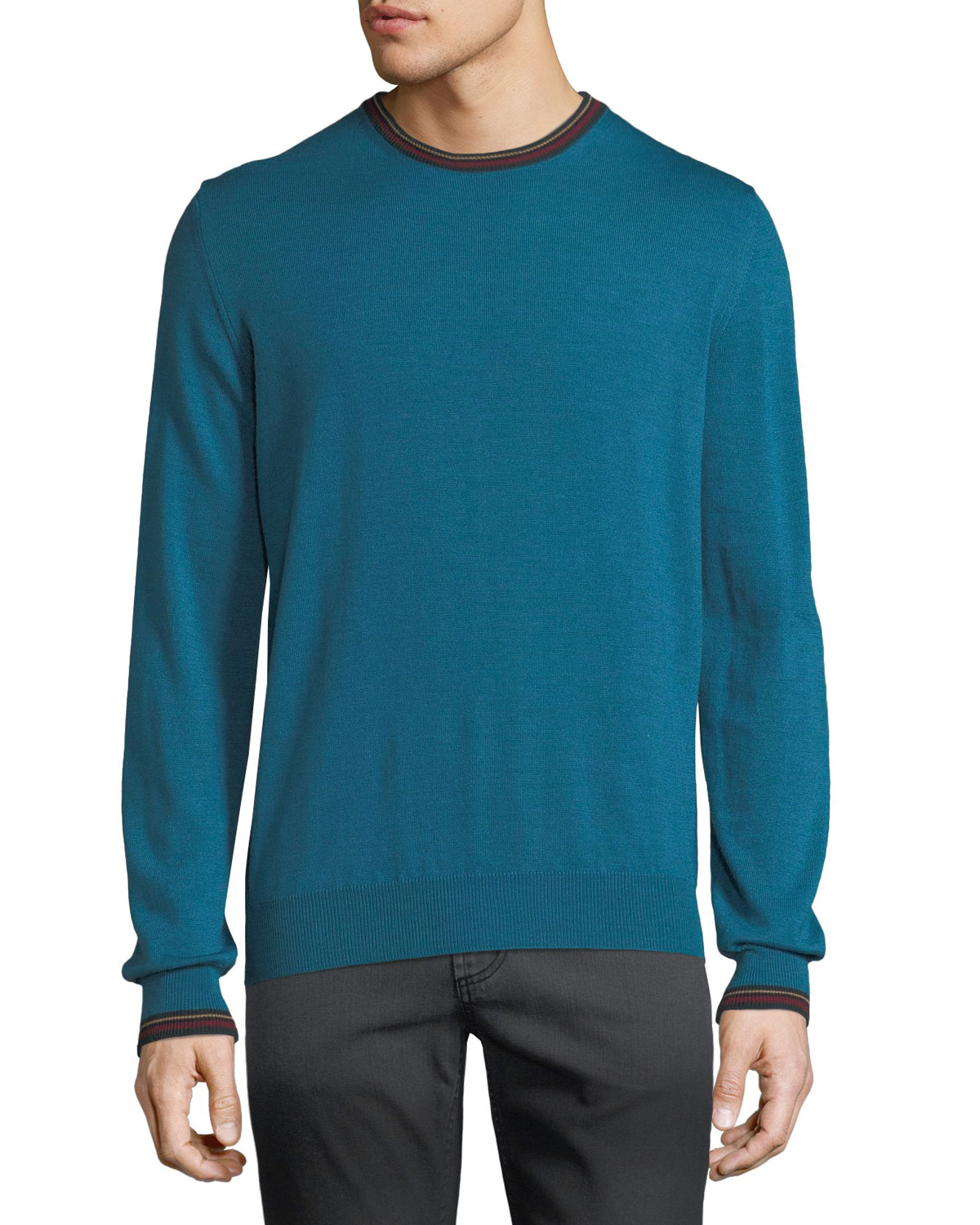 Men's Collegiate Crewneck Wool Sweater