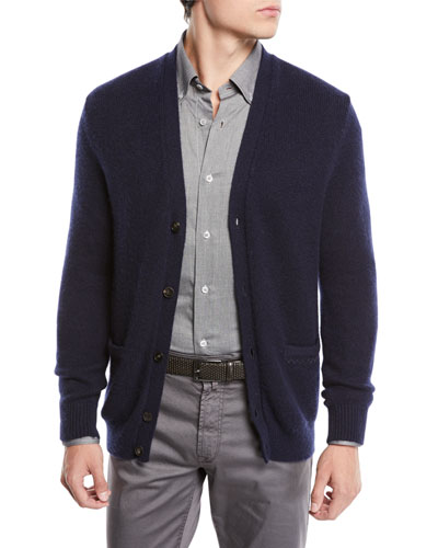 V-Neck Button-Front Cashmere-Silk Cardigan