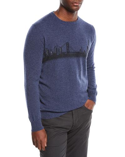 Hand-Embroidered San Francisco Skyline Crewneck Cashmere Sweater